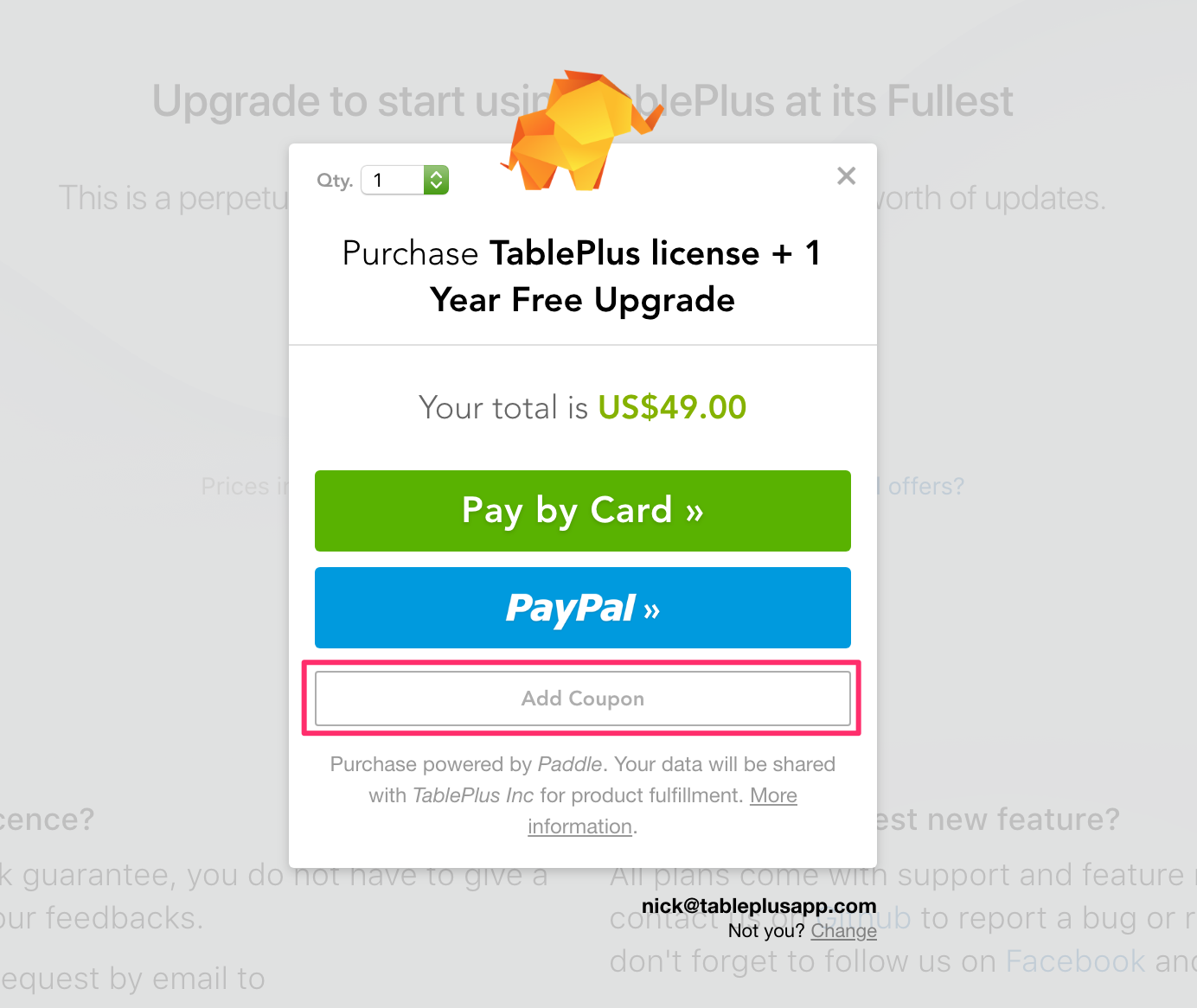How to use the coupon code? | TablePlus